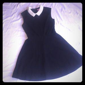 Betsy Johnson black shift dress with pearl collar